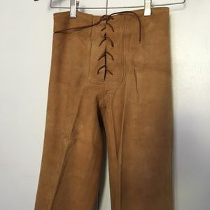 Suede Leather Skinny Pants